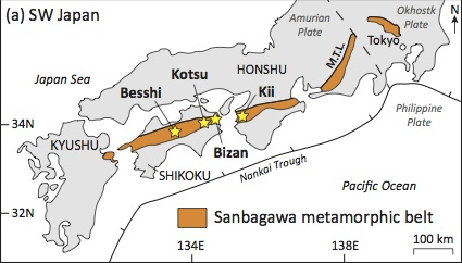Fig. 1 - The Sanbagawa metamorphic belt (Fig. 1a of Weller et al., 2015).