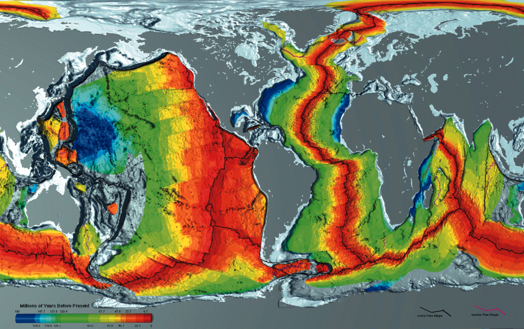 Age of oceanic crust; youngest (red) is along spreading centers and oldest along the margins of continents. Image from