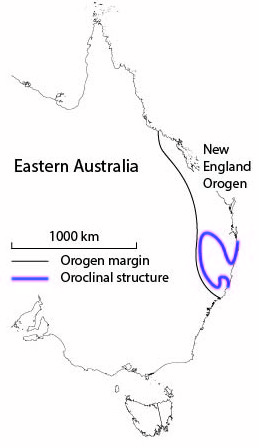 Figure 2: East Australia, the New England Orogen and the trend of the New England oroclines.