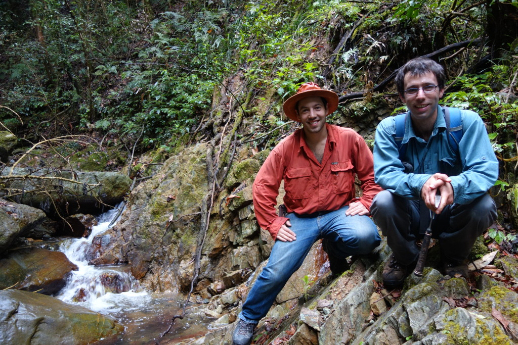 Figure 3: A/Prof Gideon Rosenbaum and PhD student Uri Shaanan in the rugged lush terrain of the Nambucca Block.