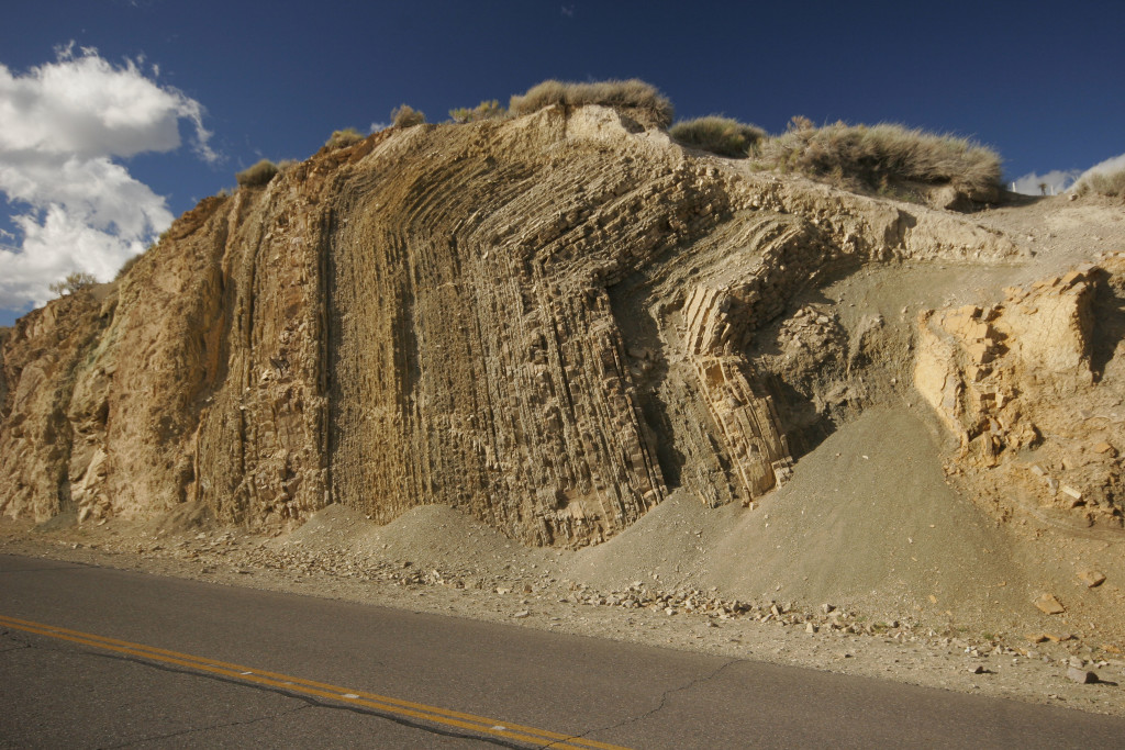 Photo 2: Road section of a thrust ramp anticline in the deformed sediments of the Chos Malal fold-and-thrust belt.