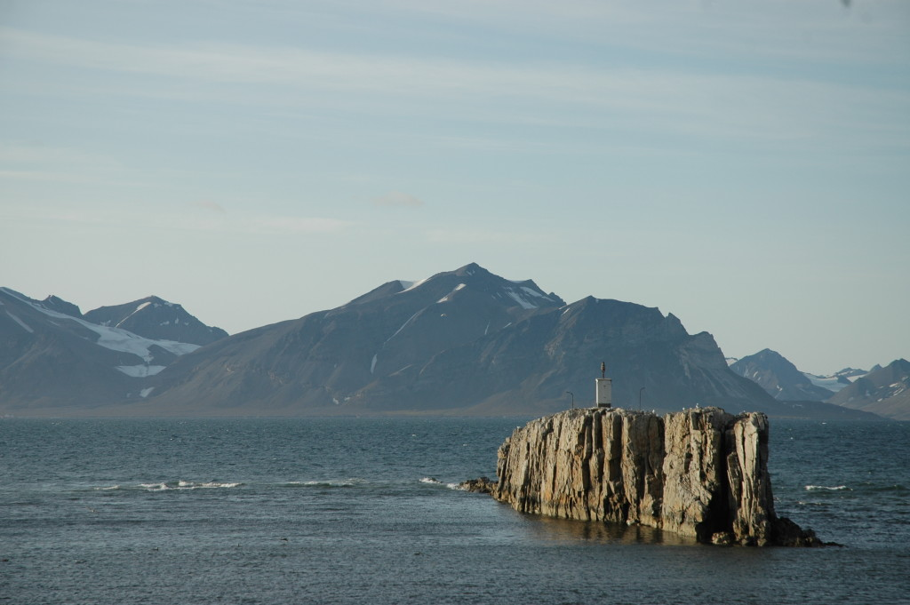 Festningen - The Fortress - a pillar of hard, Cretaceous fluvial sandstone, tilted vertical by Svalbard's clash with Greenland.