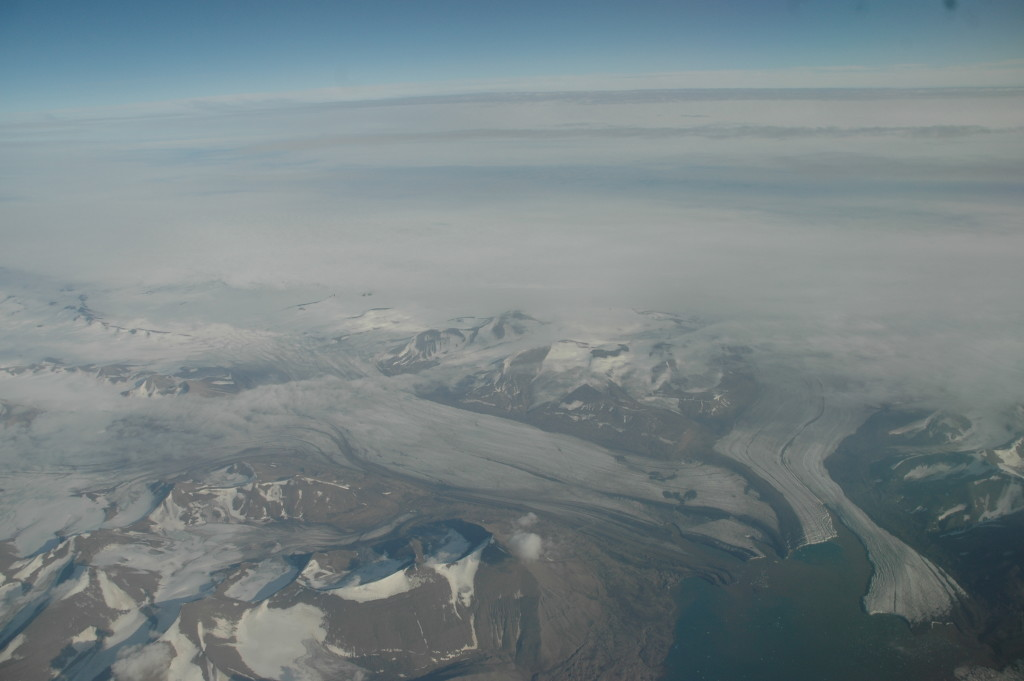 Glaciers from the air, on the south tip of Svalbard.