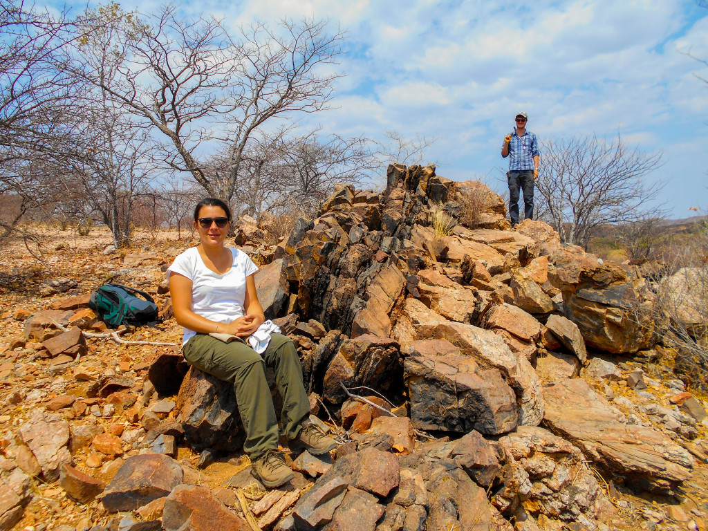 Figure 8: Myself and Delia on the famous 'composite dyke' comprising three generations of intrusion: granite-pegmatite, phonolite and carbonatite, respectively. Credit: Frances Wall.
