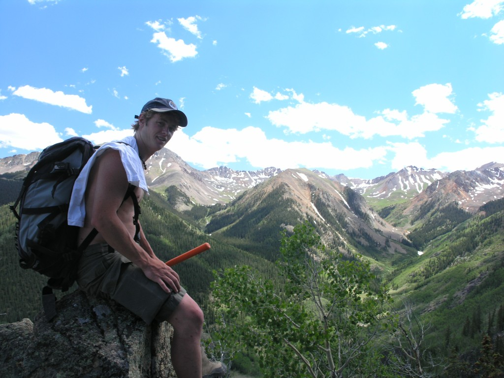 Ben Kennedy mapping resurgent intrusions in the interior of Lake City caldera.