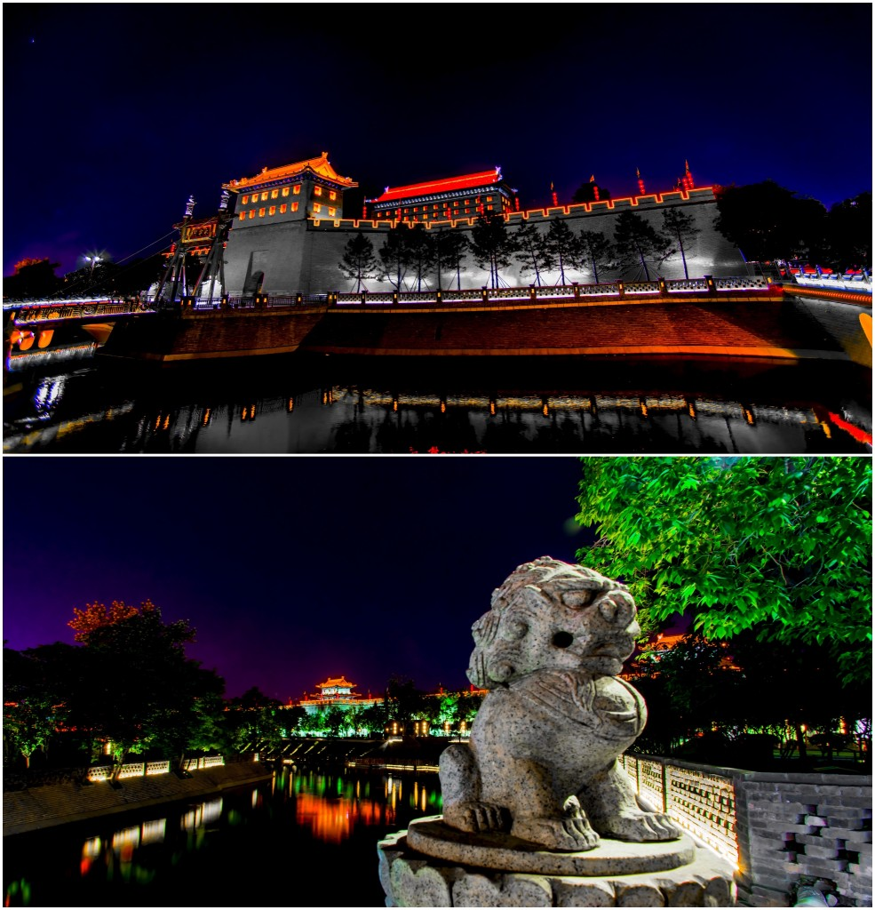 top: fortress of Xi'an; bottom: looking across the moat from the south bridge.