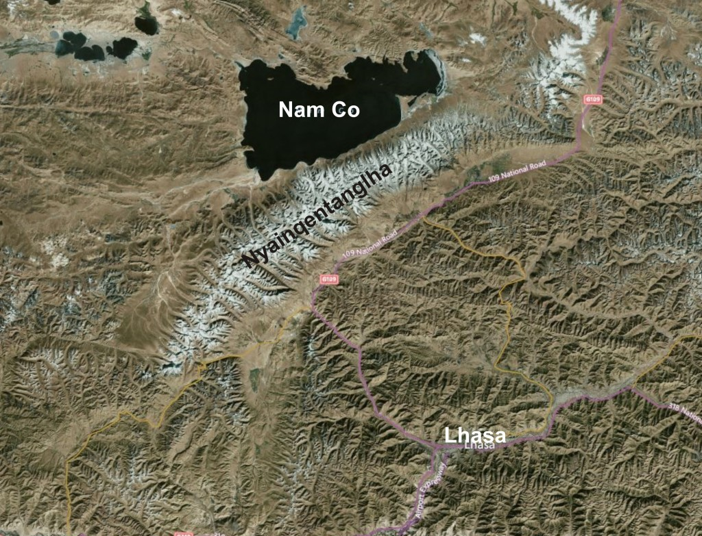 The Nyainqentanglha range with Nam Co lake to the north, Lhasa city to the south.