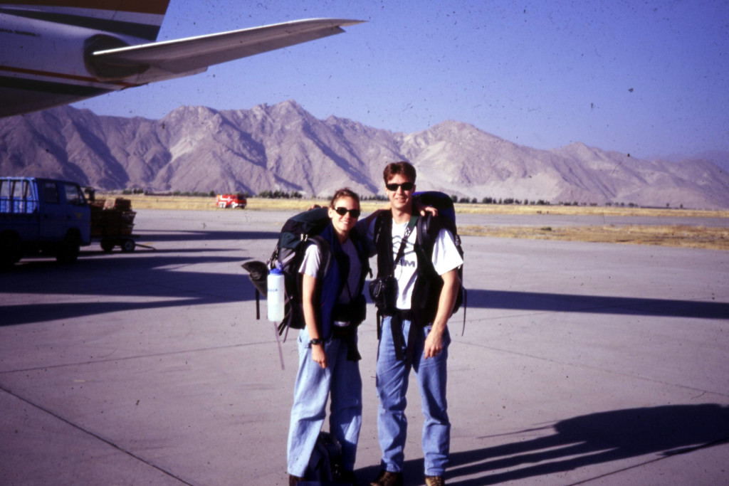 Me and Paul Kapp, just landed at the airport outside of Lhasa, 1999.