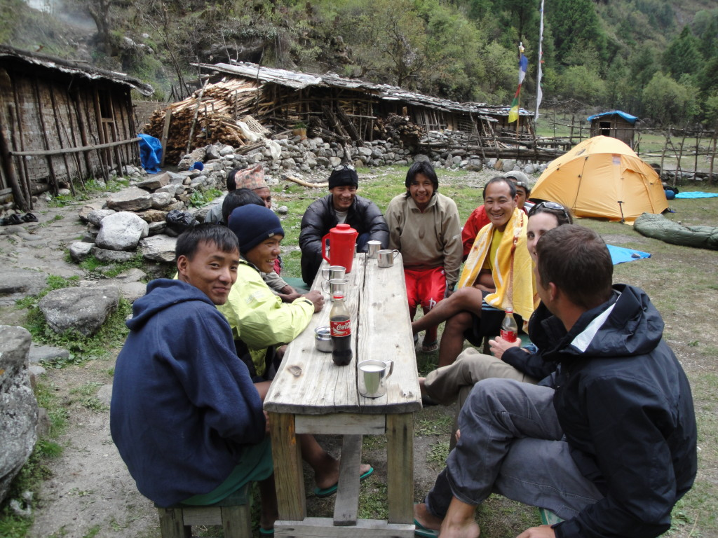 Photo 2. Photo of some of our team with our Nepali crew after a long day trekking. (Photo credit – K.Larson).