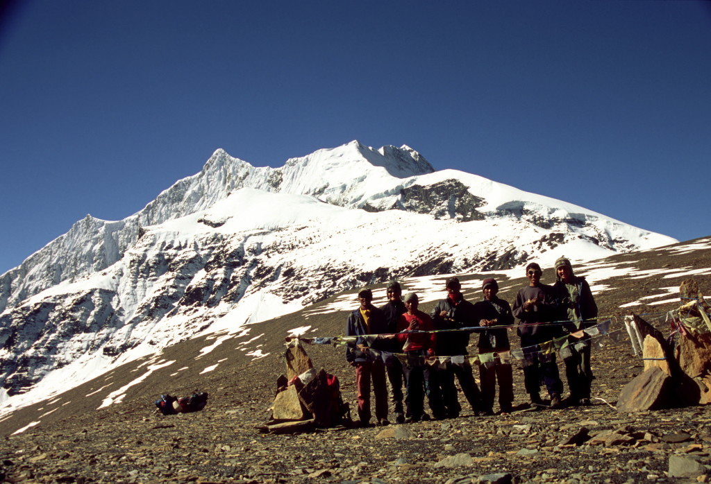 Photo 3. The research team standing atop Dhampus Pass in the Dhaulagiri Himal. (Photo credit – K.Larson)
