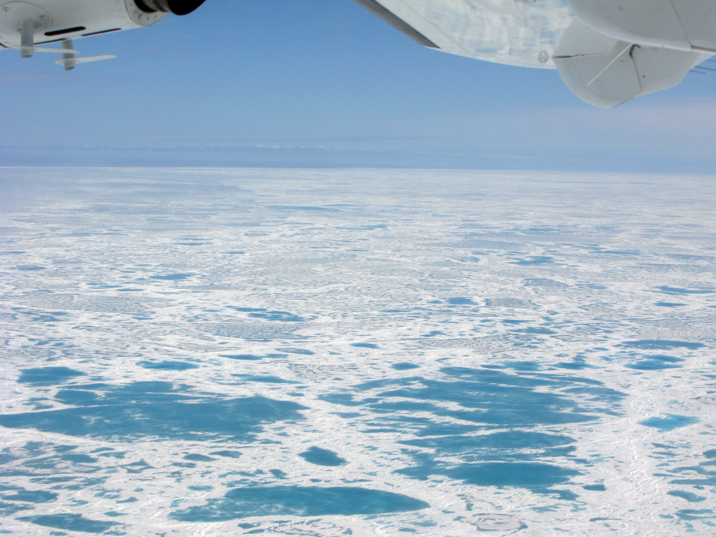 Sea ice as far as the eye can see on our way from Yellowknife to Victoria Island.