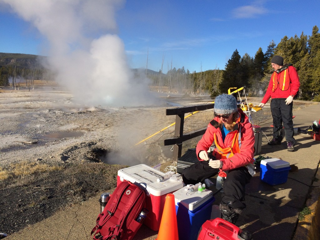 Sampling at Spouter Geyser.