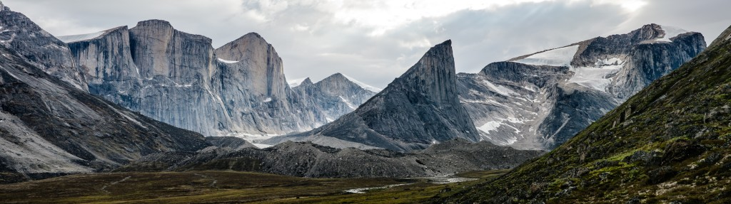 The view from camp of the soaring granite walls that make up most of Baffin Island.