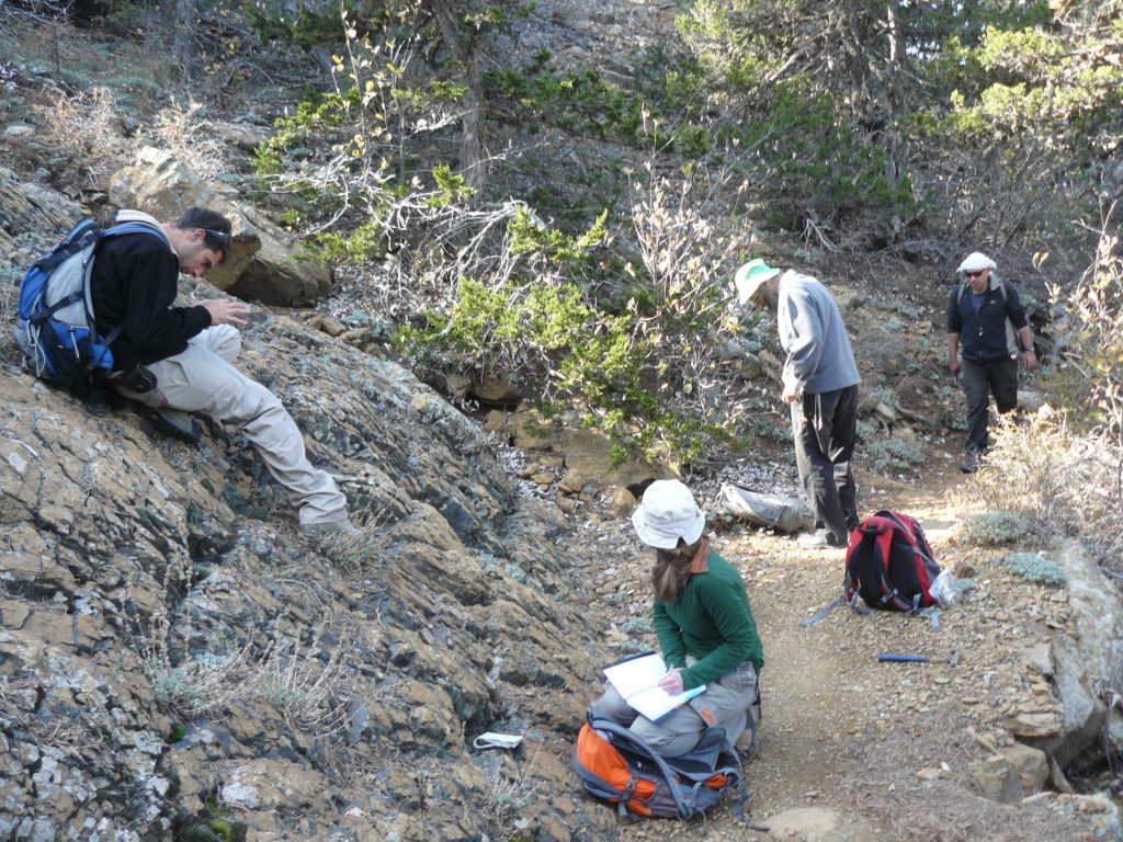 Us looking busy doing all kinds of various geological fieldwork. From left to right: Bar, Hagit, Meir and Yaron.