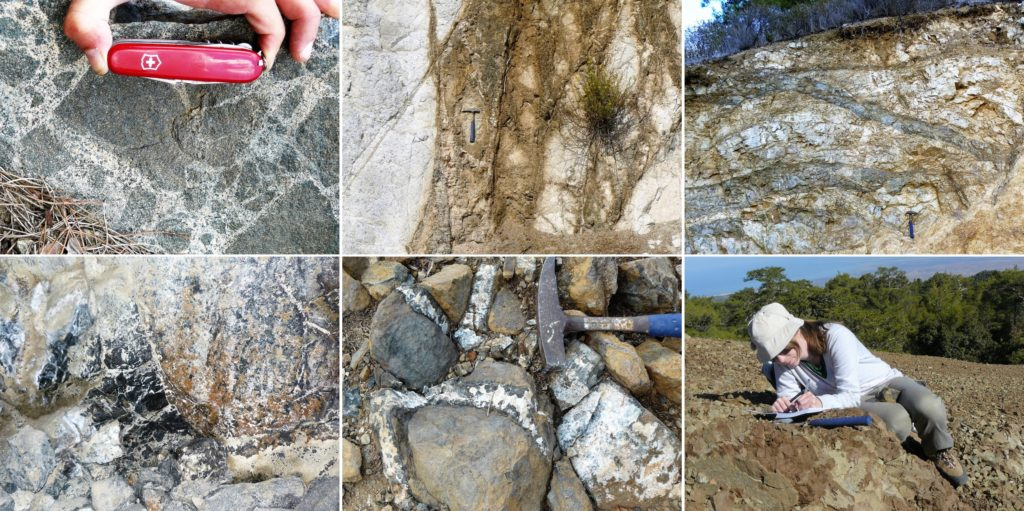 Starting top left, clockwise: plagiogranite magma brecciating a mafic rock; a hydrothermal feeder zone through altered rock; sub-horizontal sheeted dykes; chromitite seam inside an abandoned mine; gabbro pegmatite vein network; Hagit taking notes on a huge pile of olivine: dunite rock.