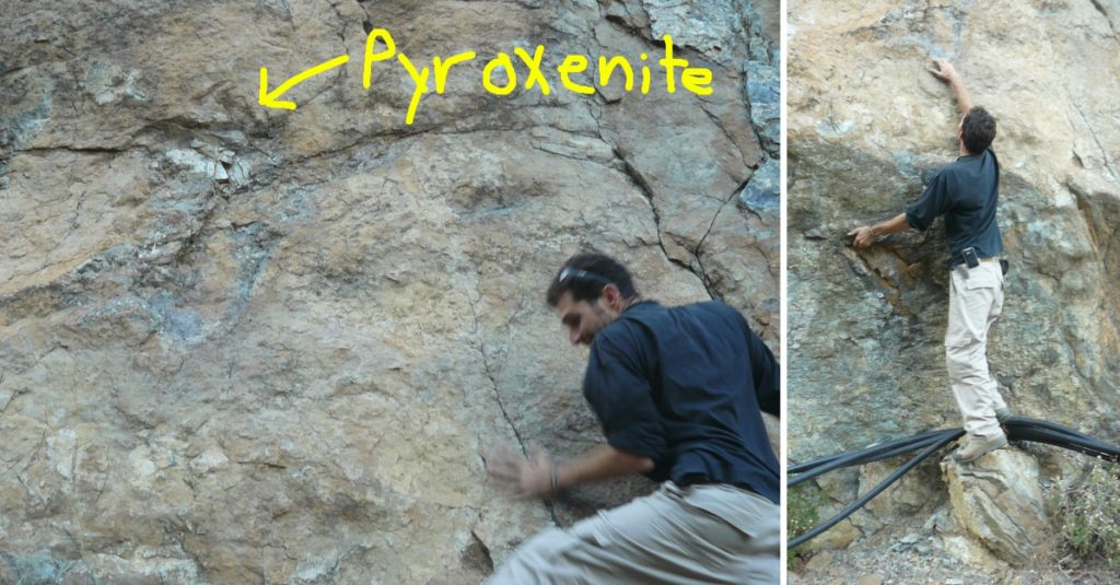 Bar, the tallest of the group, risking his skeletal health while attempting to retrieve an impressive pyroxenite vein.