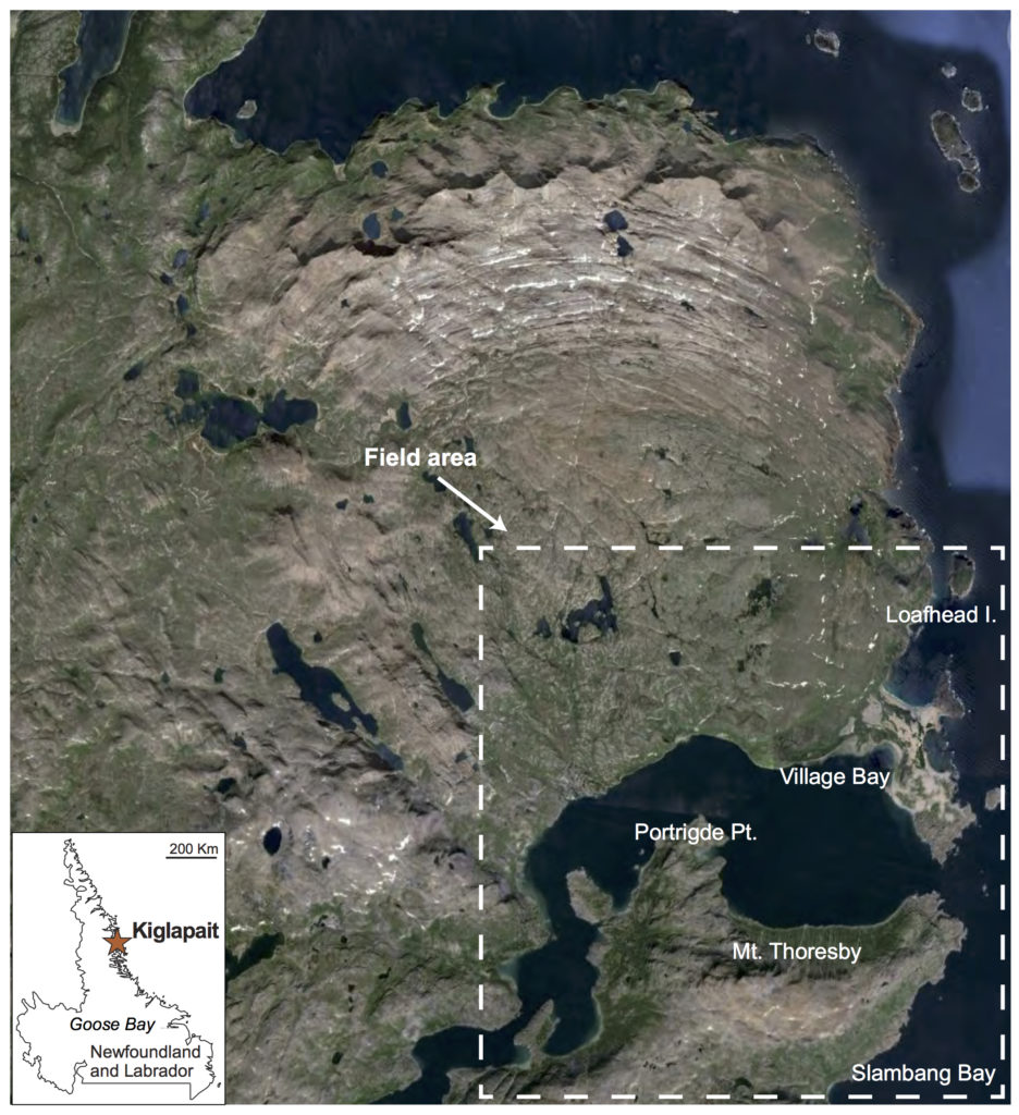 Figure 1: Google Earth view of the Kiglapait intrusion and location of the field area. Inset: Location of the Kiglapait in Labrador, Canada. The Kiglapait intrusion is part of the Proterozoic anorthositic Nain Plutonic Suite.