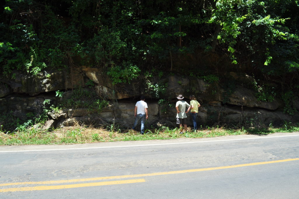 Figure 8 – One of the many exposures of high-grade metamorphic rocks we encountered in the road cuts.