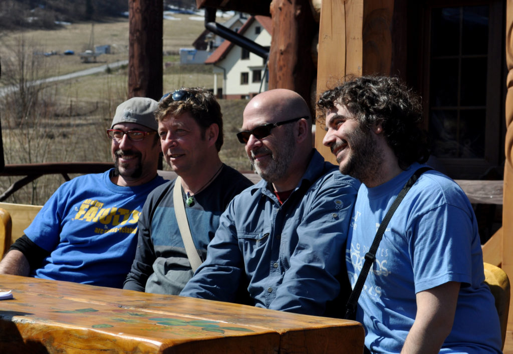 The Orocline team, from left to right: Arlo Weil, Gabriel Gutiérrez-Alonso, Stephen Johnston and me.