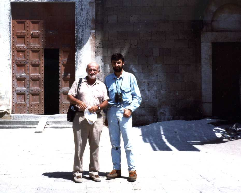 Richard V. Fisher and a young myself in the old village of Caserta, where palaces were built with Campanian Ignimbrite bricks (Summer 1987).