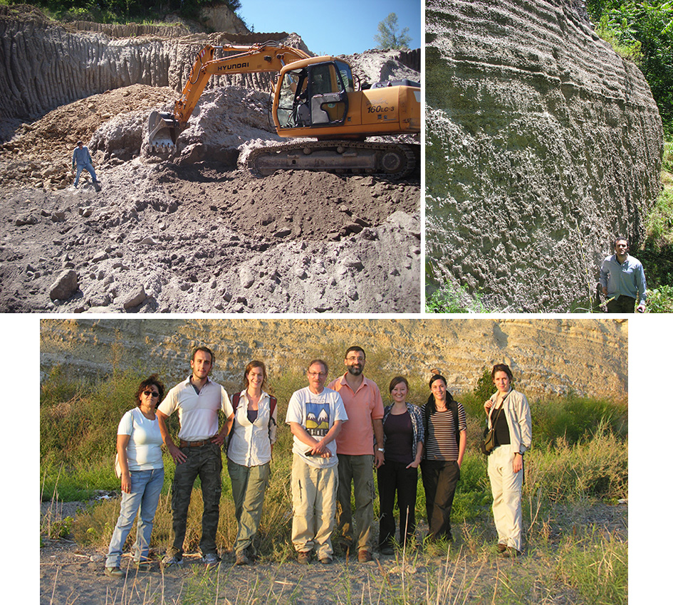 (top left) A thin lapilli fall layer is exposed in a quarry 50 km east of Campi Flegrei; (top right) Massive to stratified coarse and thick proximal CI plinian deposit along the Campi Flegrei caldera rim; (bottom) our research group (from left Annamaria Perrotta, Nico Sparice and with a pink tshirt myself) guide prof. Steve Sparks and his four Phd students in a field survey devoted to the CI fall deposit (2010).