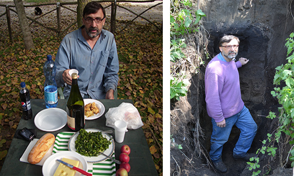 The good and the bad of field survey. A farmer invited me to have lunch with food grown on the farm, this occurred three times in thirty years (on the left). Very often it was necessary to dig to reach the base of the CI succession. In this case the hole was as deep as me (on the right).