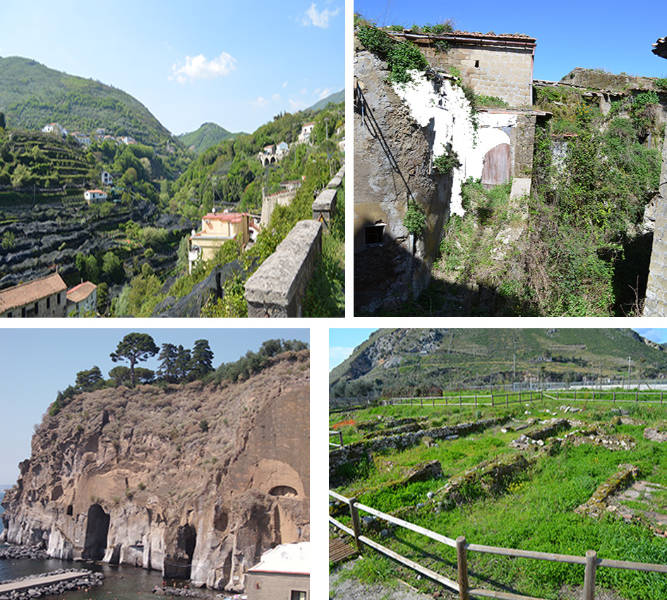 Landscapes and Campanian Ignimbrite: (top left) lemon trees on CI in a terraced valley; (top right) the ghost town of Tocco Caudio is built on a small hill of CI, 49 km from the source; (bottom left); CI cliff near the lovely town of Sorrento; (bottom right) north of Naples the roman via Appia cut the CI.