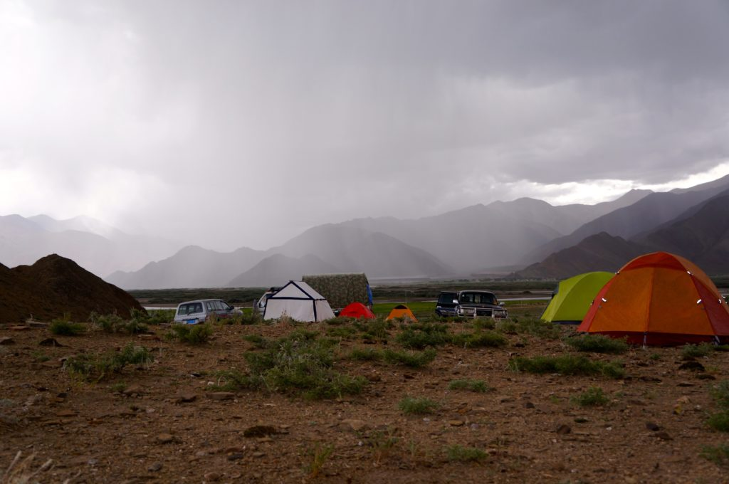 Rain approaches our camp near Lazi and scorpions seek shelter under our tents