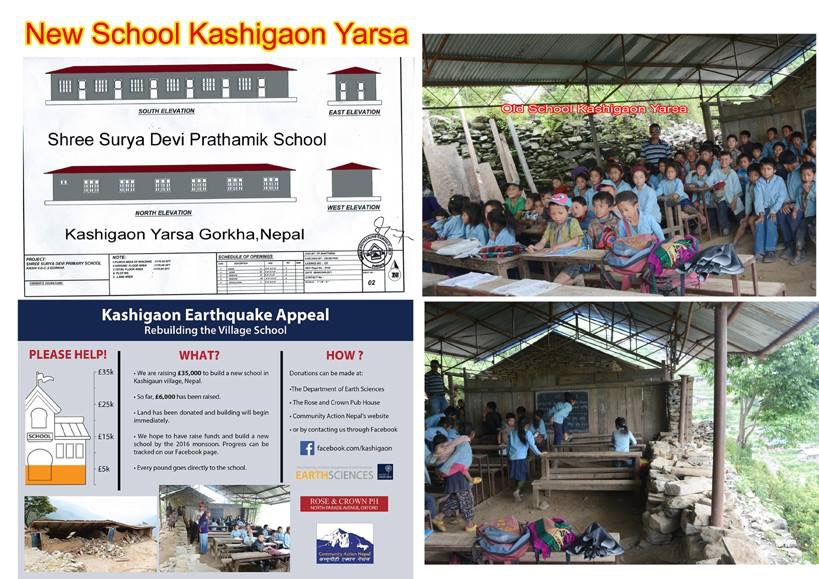 Appeal poster for Kashigaon reconstruction and school children in the old school.