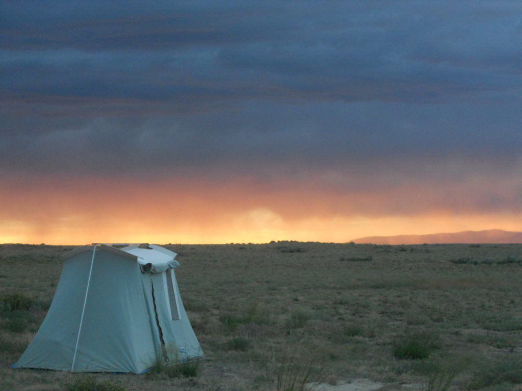 Home for the month. Camp at sunset.
