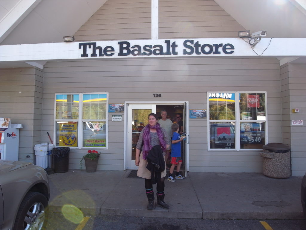 Mimmi Nilsson in front of the Basalt Store in the town of Basalt