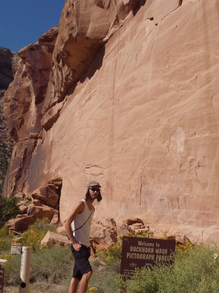 Me in front of some Native American art on the walls at Buckhorn Wash.