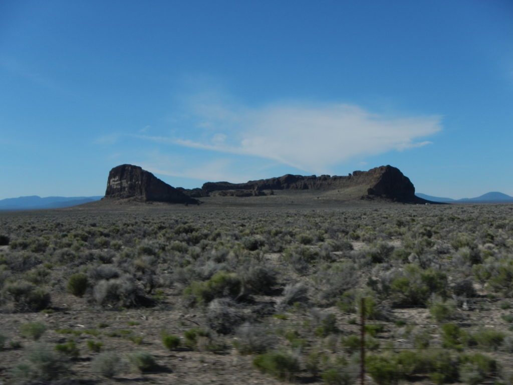 One of the largest hydrovolcanic features in the Fort Rock-Christmas Valley basin, the Fort Rock monument (tuff ring). Photo by Matthew Nikitczuk.