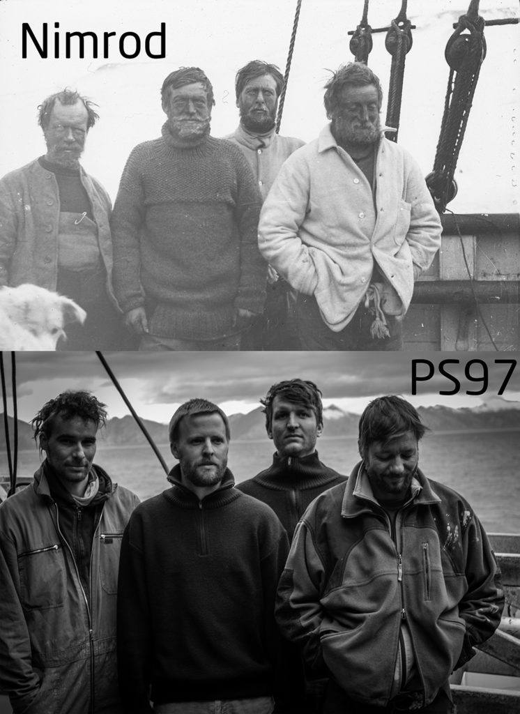Commemorating the epic journey of Shackleton and his men, we staged a picture from one of his earlier expeditions. Top: Shackleton (2nd to the left) and his men aboard the Nimrod (© Archive for German Polar Research; S4F No. 49). Bottom: Simon Schröder (AWI), Thomas Ronge (AWI), Marc Wengler (AWI) and Sascha Plewe (IOW) (©Thomas Ronge).