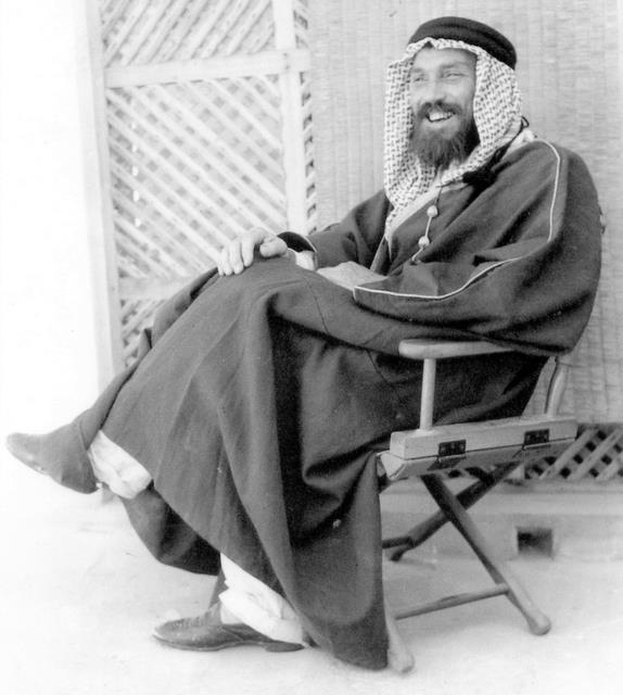 Max Steineke in Saudi Arabia. Steineke and the other geologists adopted the dress and look of the local Bedouins with whom they worked. Image from Wikipedia.
