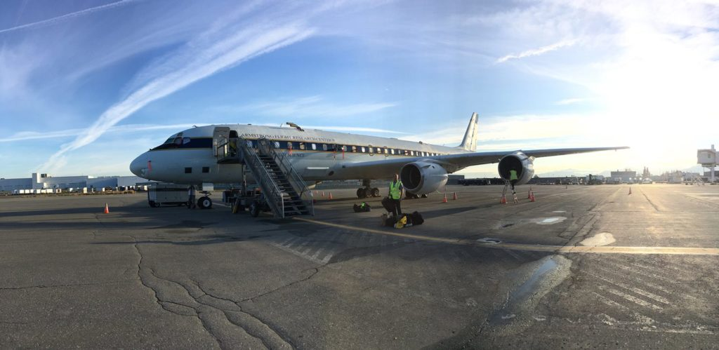 On August 3, NASA's DC-8 flying laboratory prepared for takeoff from Anchorage, Alaska en route to Hawaii as part of the Atmospheric Tomography (ATom) mission's global survey of the atmosphere. Credit: Roisin Commane