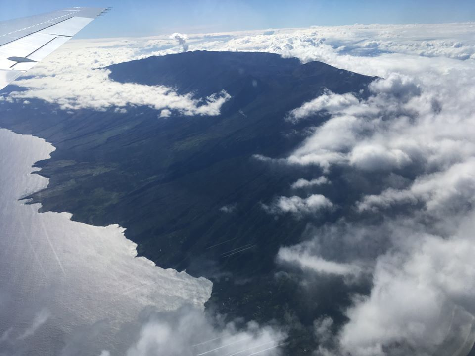 A view of the Kona coast, on Hawaii Island, before the ATom crew touched down on August 3. Credit: Roisin Commane