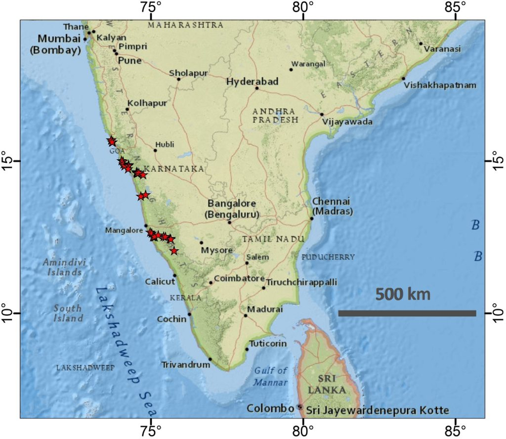 Photo 1: Map of southern India with our collected samples indicated by red stars.