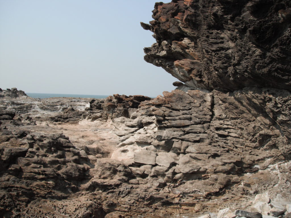 Sandstone outcropping at the beach in Goa. We accidentally stumbled upon several nudist sun-bathers while trying to find good outcrop along the beaches.