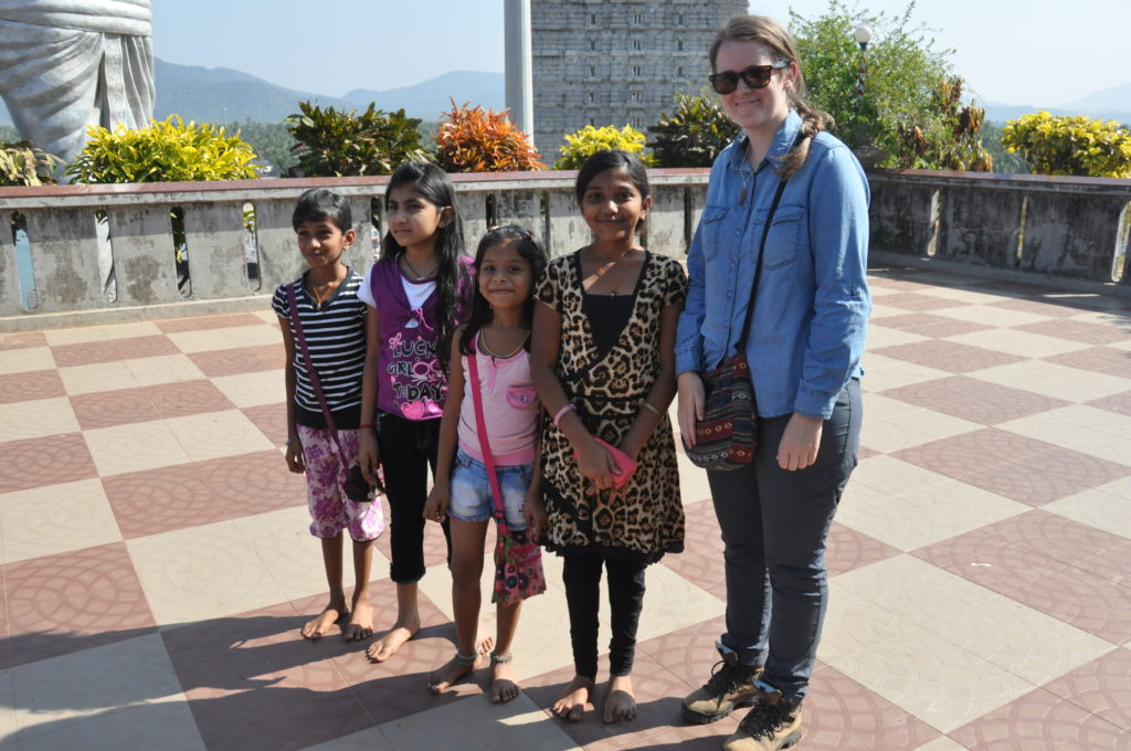 Some young girls wanted their photo taken with me when we visited a Hindu temple, I'm still unsure if I felt more like a celebrity or a circus attraction. Photo: Alan Collins