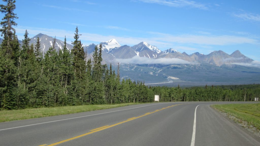 Taking the Alaska Highway west out of Haines Junction with view of the Kluane Ranges.