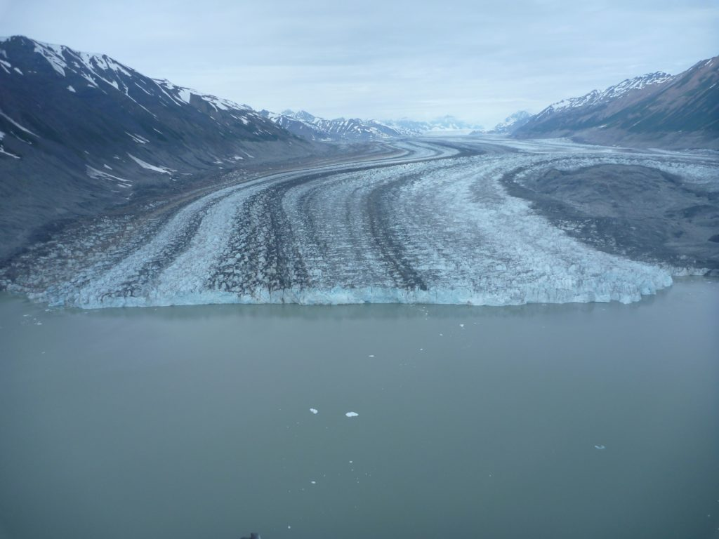 Lowell Glacier terminus at an ice-dammed lake draining into Alsek River. Glacier surges blocked the Alsek River several times in the historical past (the last time ca. 1850) creating Neoglacial Lake Alsek and causing catastrophic outburst floods.