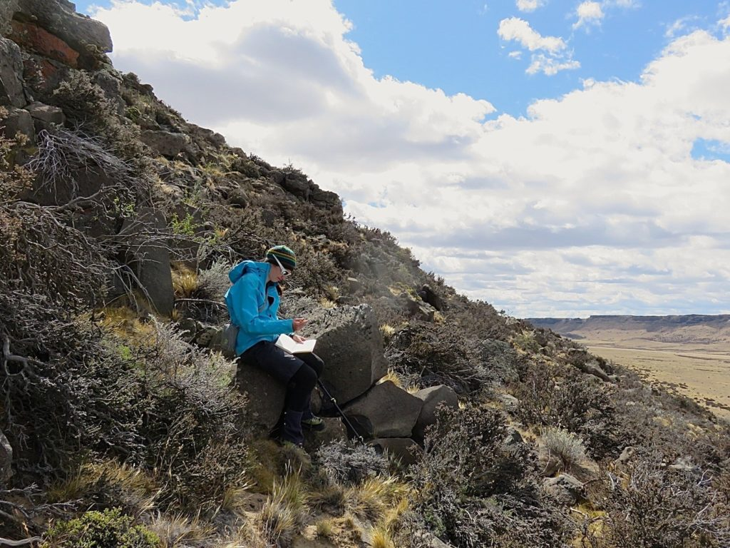 The author at work in a landscape dominated by basalt plateaus (thanks to Davide for the photo).
