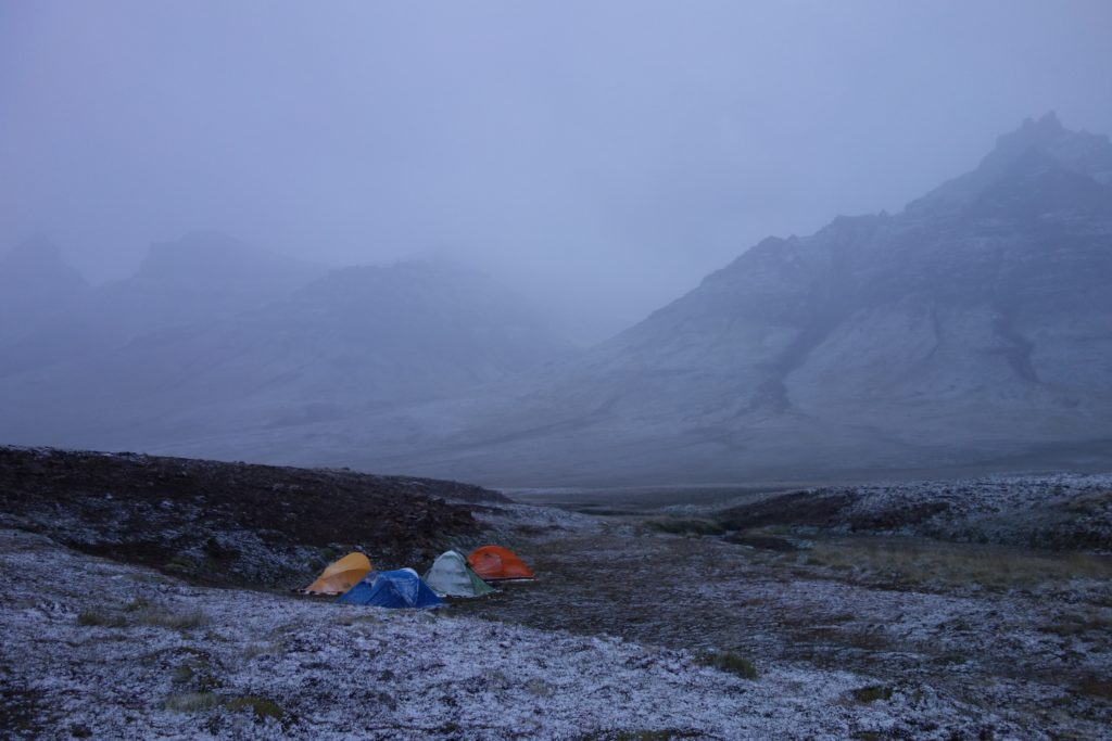 Our wildest and coldest campsite, which we walked in to carrying all our supplies for a few days. We awoke to find the rain had turned to snow overnight.