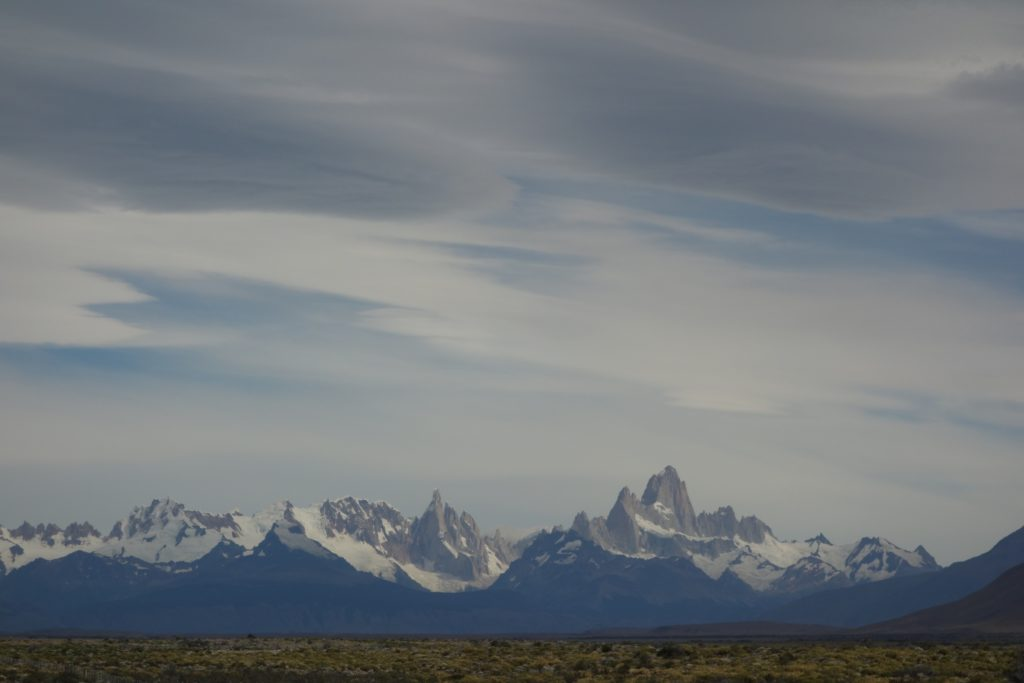 The Andes rising abruptly out of the plains: here, the Fitzroy massif (Argentina) under skies that herald changing weather.