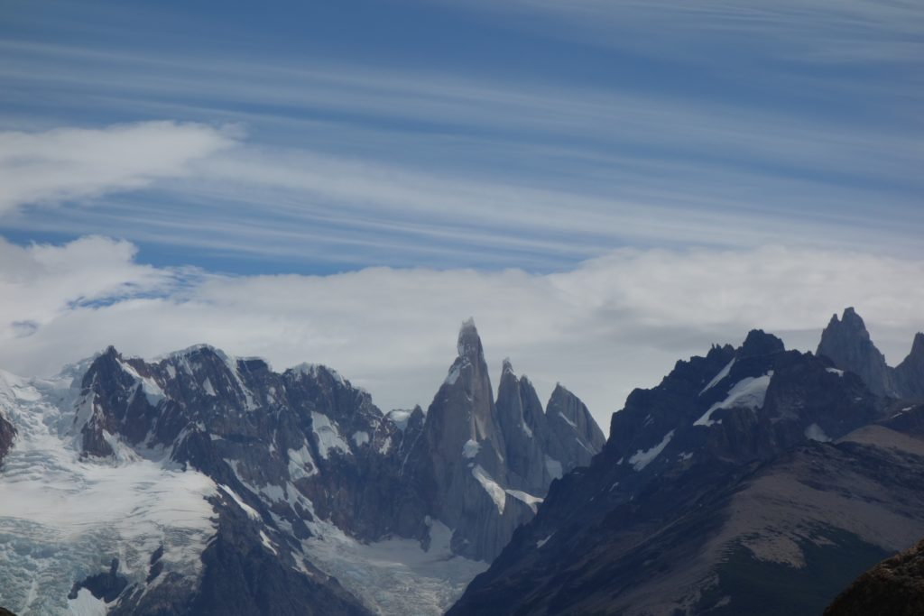 The Fitzroy massif (Argentina). This impressive collection of spires is made up of plutonic rocks that are intriguing for their location well east of the main subduction-related batholith.