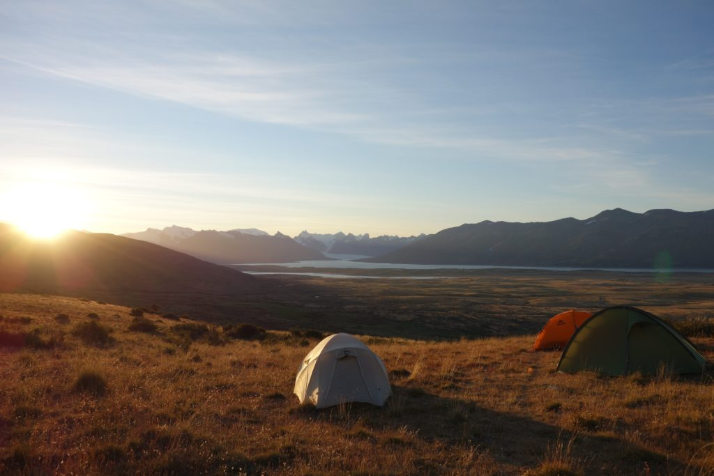 Camping in style, with spectacular sunset views towards Glaciar Perito Moreno.