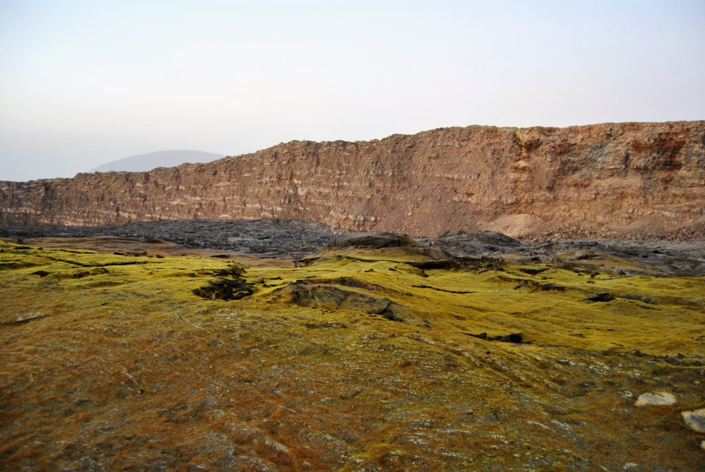 In the daylight the sulphur glass crystals blanket the caldera of the Erte Ale formed by the crystallization of the sulphuric gas emitted from the volcano.