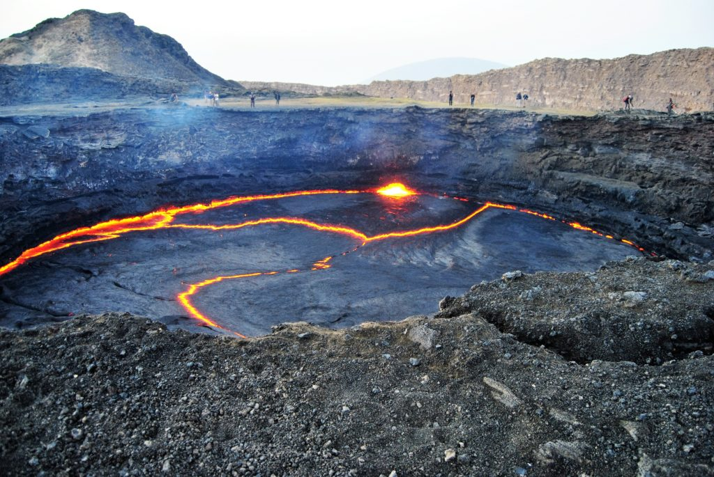 Tourists can get dangerously close to the edge of the lava lake on Erte Ale.