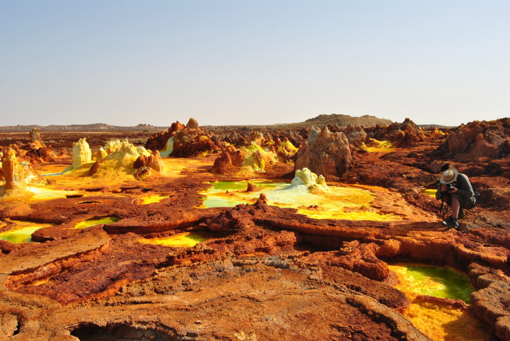 The sulphur springs and Dallol form beautiful terrestrial looking landscapes.